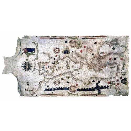 Cuadro -Mapa del Mediterráneo- sobre piel de carnero- MAPAS