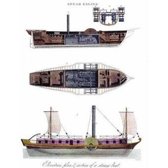 cuadros de mapas, grabados y acuarelas - Cuadro -Elevación, plano y sección de un barco a vapor - - _Anónimo Americano