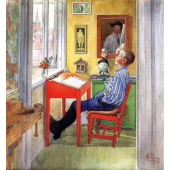 cuadros infantiles - Cuadro -Esbjorn haciendo sus deberes- - Larsson, Carl
