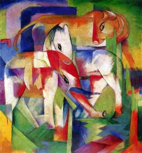 cuadros-infantiles - Cuadro -Elefante, caballo y vaca- - Marc, Franz