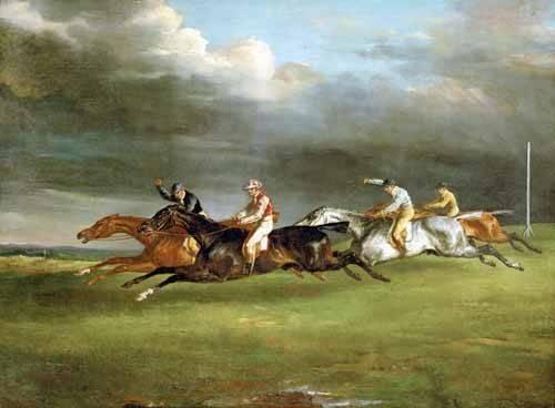 cuadros-de-fauna - Cuadro -Carrera de caballos en Epsom- - Gericault, Theodore