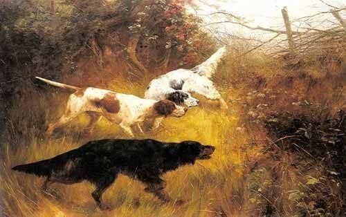 cuadros-de-fauna - Cuadro -Three Pointers in a Landscape- - Blinks, Thomas