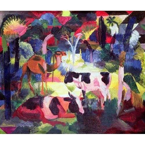 cuadros de fauna - Cuadro -Paisaje con vacas y camello-