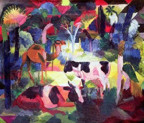 cuadros-de-fauna - Cuadro -Paisaje con vacas y camello- - Macke, August