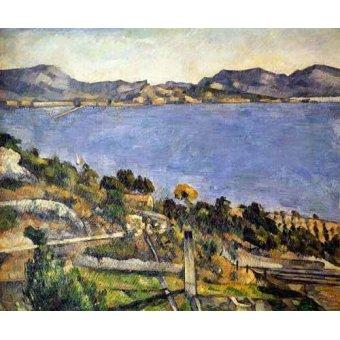 cuadros de marinas - Cuadro -La bahía de Marsella desde L´Estaque- - Cezanne, Paul