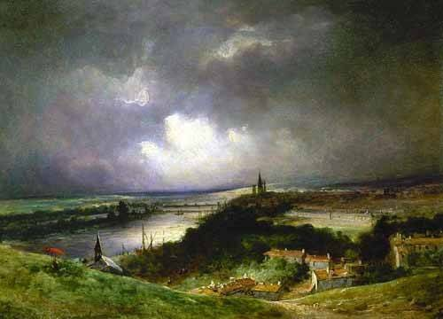 cuadros-de-paisajes - Cuadro -Paisaje con el río- - Constable, John