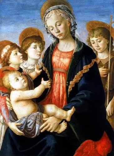 cuadros-religiosos - Cuadro -La virgen y el Niño con San Juan Bautista y dos angeles- - Botticelli, Alessandro