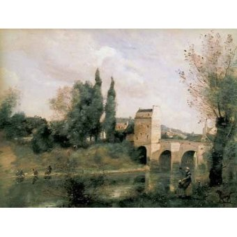 - Cuadro -El puente de Mantes- - Corot, J. B. Camille