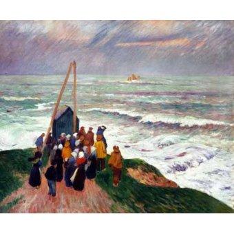- Cuadro -Esperando a los pescadores en Bretaña- - Moret, Henri