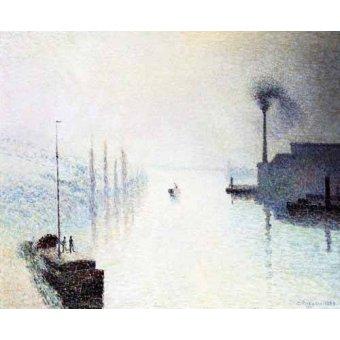 cuadros de marinas - Cuadro -La isla Lacroix Rouen efecto de niebla- - Pissarro, Camille