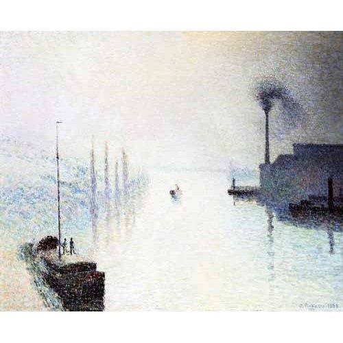 Cuadro -La isla Lacroix Rouen efecto de niebla-