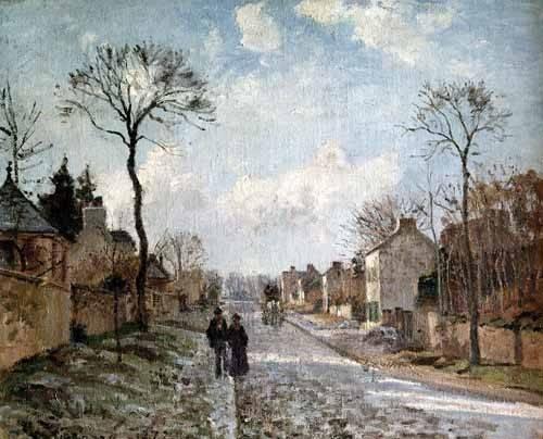 cuadros-de-paisajes - Cuadro -Paisaje de invierno en Louveciennes- - Pissarro, Camille