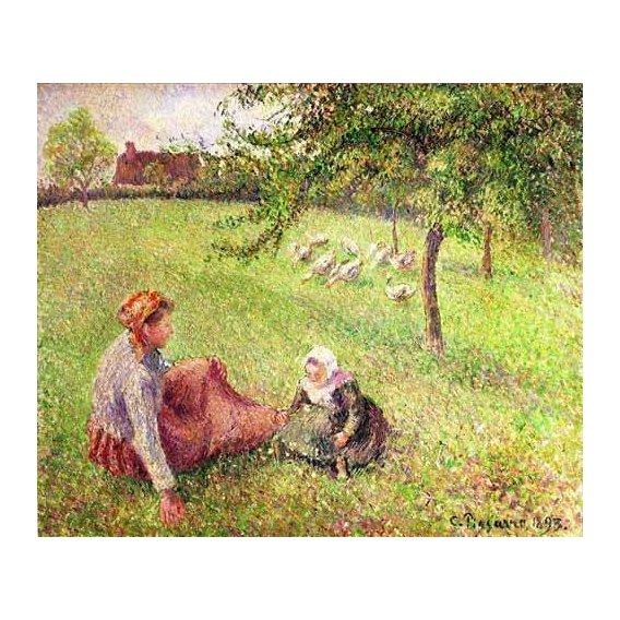 cuadros de paisajes - Cuadro -La pastora de gansos-