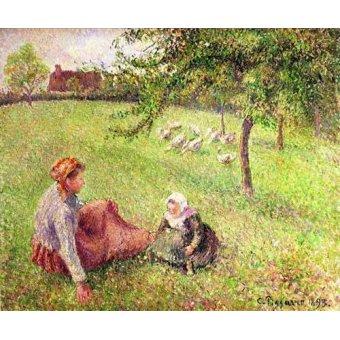 - Cuadro -La pastora de gansos- - Pissarro, Camille