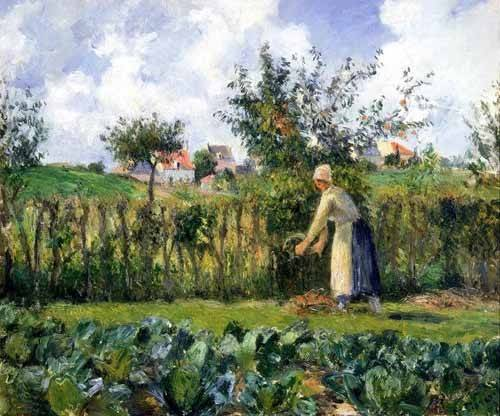 cuadros-de-paisajes - Cuadro -The cutting of the hedge- - Pissarro, Camille
