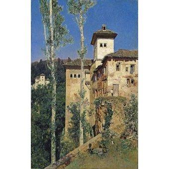- Cuadro -La Torre de las Damas en la Alhambra- - Rico y Ortega, Martin