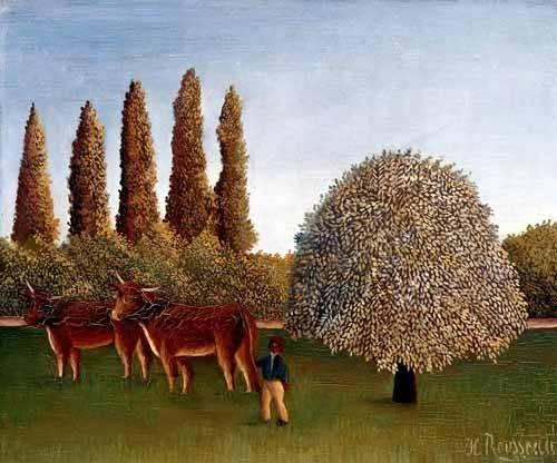 cuadros-de-paisajes - Cuadro -Paisaje con vacas- - Rousseau, Henri