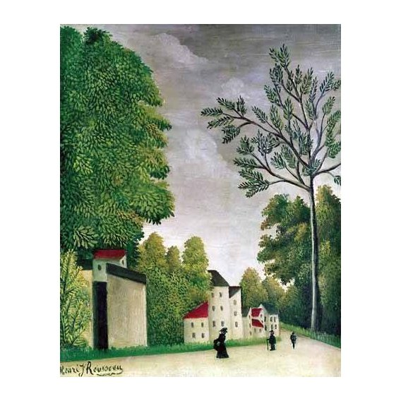 cuadros de paisajes - Cuadro -Escena en una calle de pueblo-