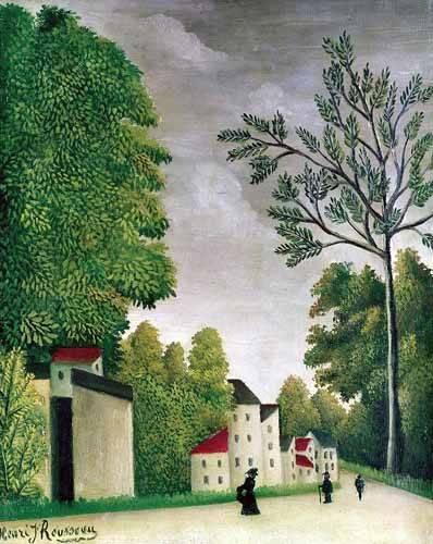 cuadros-de-paisajes - Cuadro -Escena en una calle de pueblo- - Rousseau, Henri