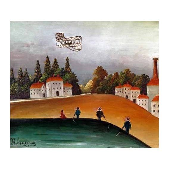 cuadros de paisajes - Cuadro -Los pescadores de caña y el avión-