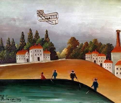 cuadros-de-paisajes - Cuadro -Los pescadores de caña y el avión- - Rousseau, Henri