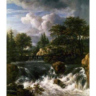 - Cuadro -Paisaje con una cascada- - Ruisdael, Jacob van