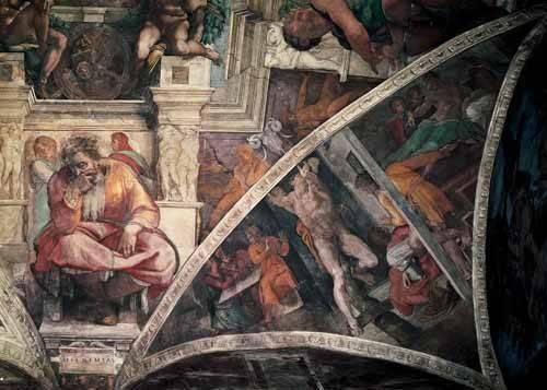 cuadros-religiosos - Cuadro -Bóveda: El Castigo de Amán, el Profeta Jeremias- - Buonarroti, Miguel Angel