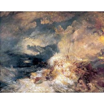 cuadros de marinas - Cuadro -Incendio en el mar- - Turner, Joseph M. William
