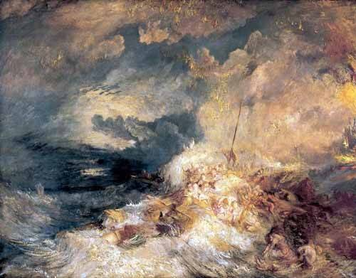 cuadros-de-marinas - Cuadro -Incendio en el mar- - Turner, Joseph M. William