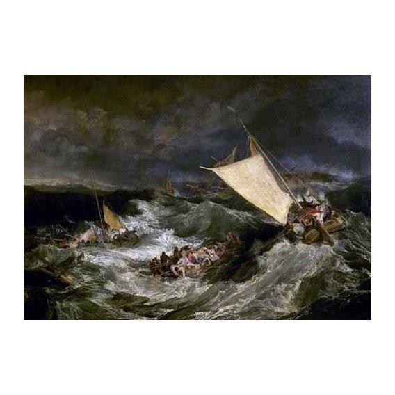 cuadros de marinas - Cuadro -Naufragio de barco de transporte-