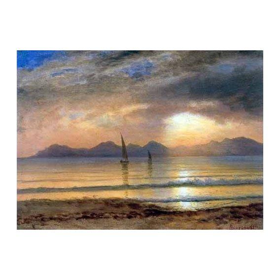 cuadros de paisajes - Cuadro -Sunset Over A Mountain Lake-