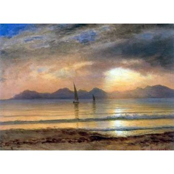 - Cuadro -Sunset Over A Mountain Lake- - Bierstadt, Albert