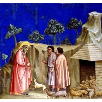 cuadros religiosos - Cuadro -Joachim retires to the sheepfold- - Giotto, Bondone di