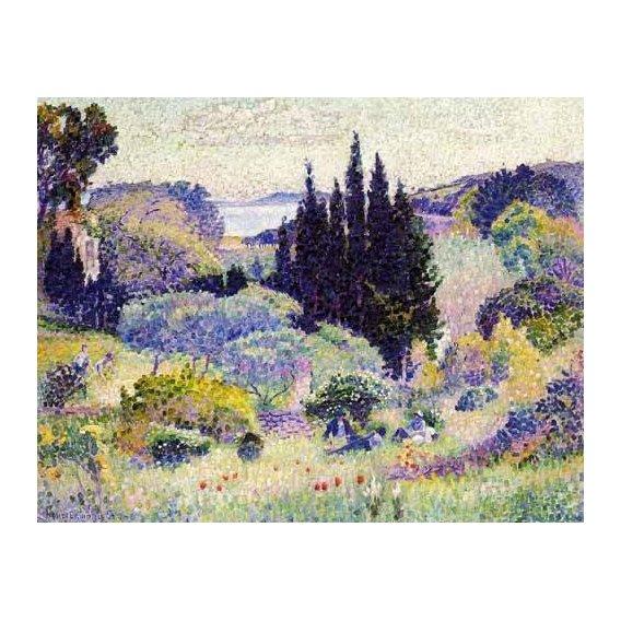 cuadros de paisajes - Cuadro -Cipreses en abril-