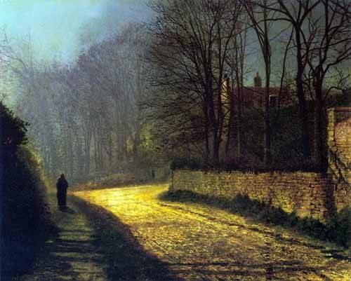 cuadros-de-paisajes - Cuadro -Los amantes- - Grimshaw, John Atkinson