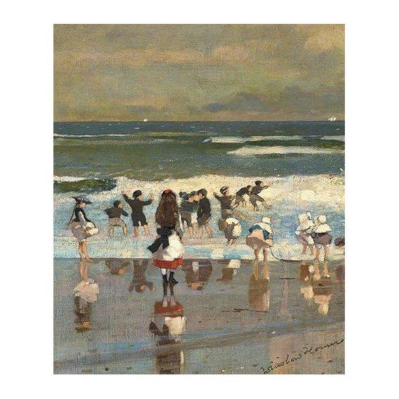 cuadros de marinas - Cuadro -Escena de playa con niños jugando en las olas-
