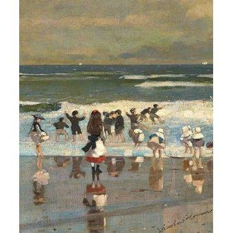 - Cuadro -Escena de playa con niños jugando en las olas- - Homer, Winslow
