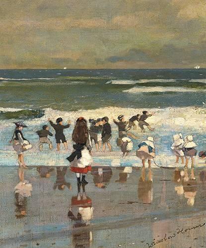 cuadros-de-marinas - Cuadro -Escena de playa con niños jugando en las olas- - Homer, Winslow