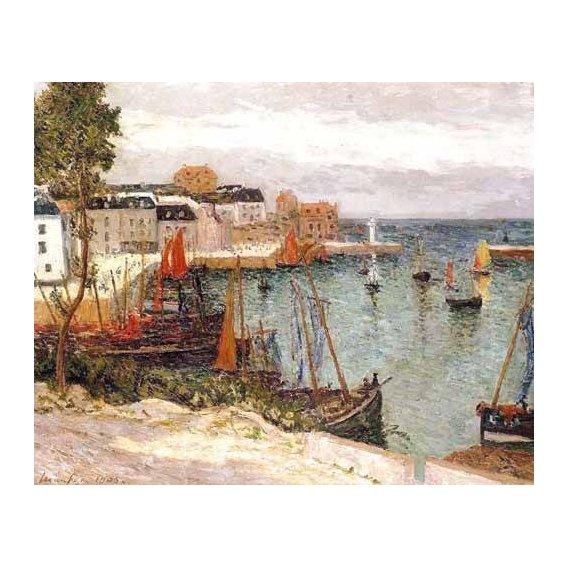 cuadros de marinas - Cuadro -El puerto de Sauzon, Belle Isle en Mer-