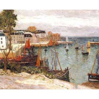 cuadros de marinas - Cuadro -El puerto de Sauzon, Belle Isle en Mer- - Maufra, Maxime