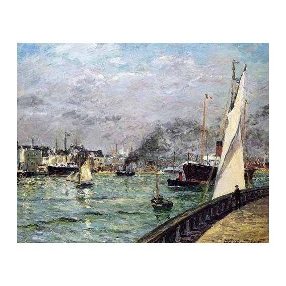 cuadros de marinas - Cuadro -Partida de un barco de carga, Le Havre-