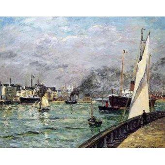 cuadros de marinas - Cuadro -Partida de un barco de carga, Le Havre- - Maufra, Maxime