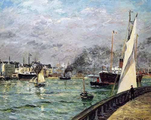 cuadros-de-marinas - Cuadro -Partida de un barco de carga, Le Havre- - Maufra, Maxime