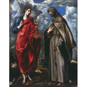 - Cuadro -San Juan Evangelista y San Francisco- - Greco, El (D. Theotocopoulos)