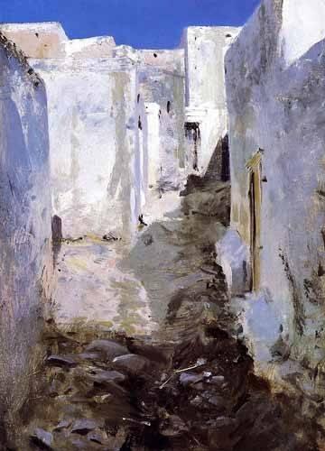 cuadros-de-paisajes - Cuadro -Calle de Algiers- - Sargent, John Singer