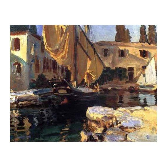 cuadros de marinas - Cuadro -Un barco con vela dorada-