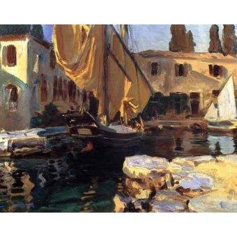 - Cuadro -Un barco con vela dorada- - Sargent, John Singer