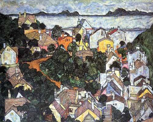 cuadros-de-paisajes - Cuadro -Paisaje de verano en Krumau- - Schiele, Egon