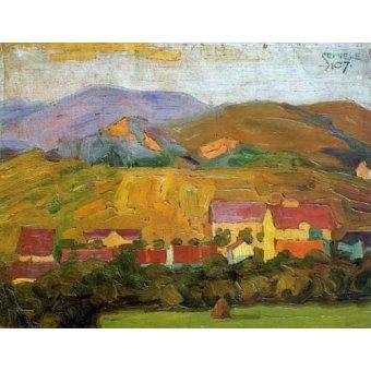 - Cuadro -Pueblo con montañas- - Schiele, Egon
