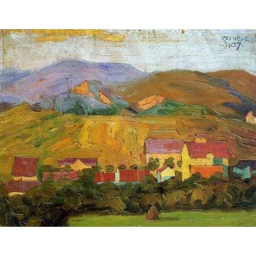 cuadros de paisajes - Cuadro -Pueblo con montañas-